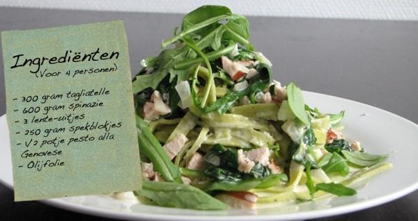 Pasta pesto met spinazie