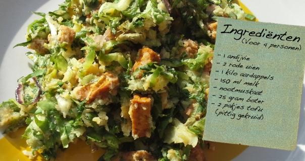 Andijviestamppot met pittige tofu