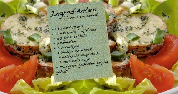 Aardappelsalade met gegrilde gehakt