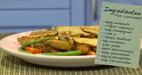Balsamico-champignons met gebakken aardappels