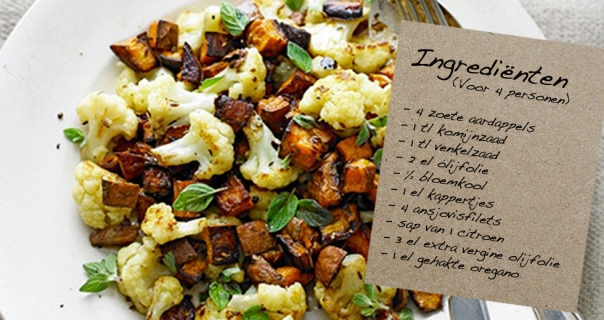 Zoete aardappel-bloemkoolsalade